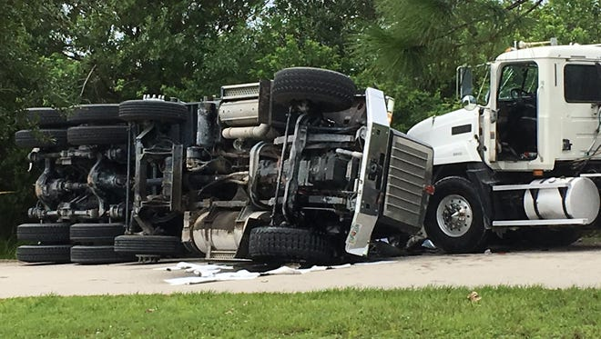 One person has been reported deceased after two dump trucks collided in Cocoa.