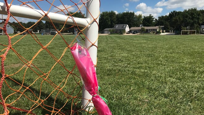 A bundle of flowers leans against a soccer goal in Bakker Park, where a 17-year-old died Monday night after a shooting.