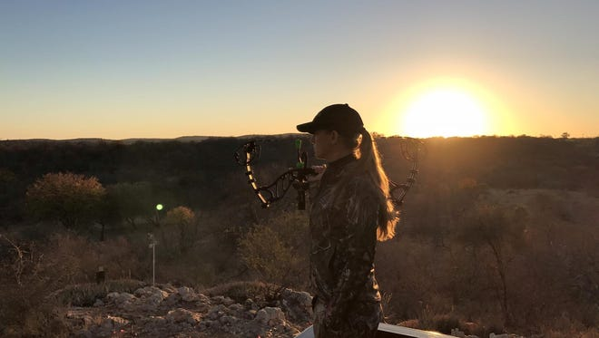 Krystle holding the Sick for the Hunt Edition Athens Revelation Bow
