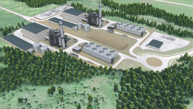 A view of the proposed Marshall Energy Center, looking northwest.