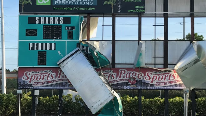 The scoreboard at Gulf Coast High School's football field suffered irreparable damage during Hurricane Irma.