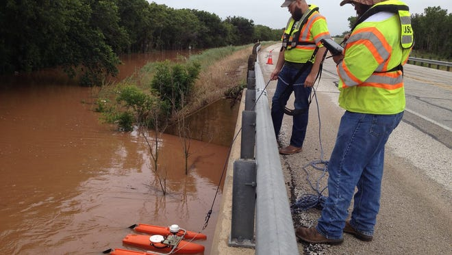 A U.S. Geological Survey crew measures the flow rate of the Little Wichita River in May 2015 at a location on Highway 79 near Archer City.