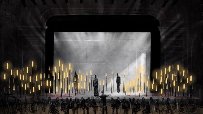 "A rendering of Adam Rigg's scenic design for ""Pelléas et Mélisande"" at Music Hall."