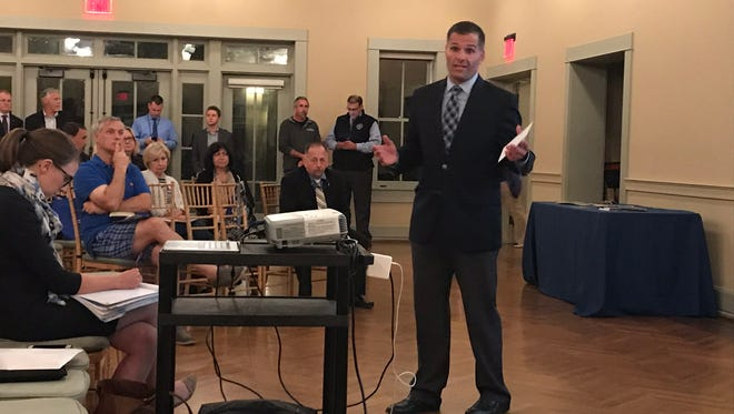 Dutchess County Executive Marc Molinaro discusses the county's shared services plan Wednesday in Locust Grove Estate in the Town of Poughkeepsie.