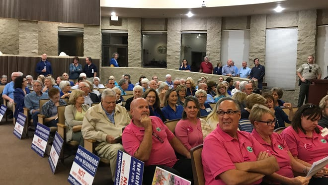 Palm Desert's council chamber was a sea of pink and blue Thursday night for another vote on an amended short-term rentals ordinance. Proponents of a ban on STRs in residential neighborhoods zoned R-1 and R-2 wore blue shirts while pink represented opponents to the ban.