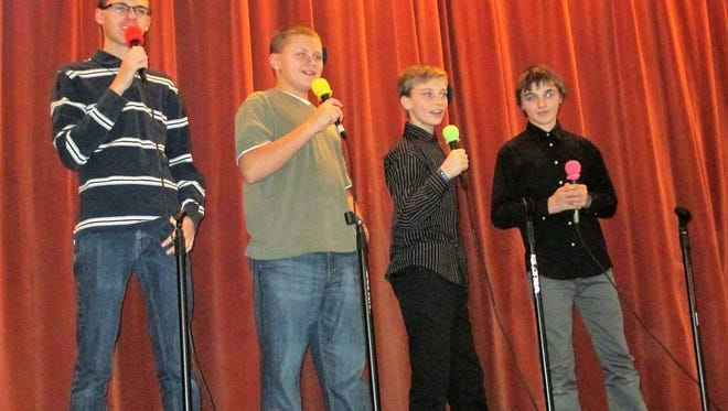 """The Fairwater Boys"" sing Christmas songs. Pictured are, from left: Jamie Digman, Jayden Digman, Ryley Wilson and Logan Sauer."