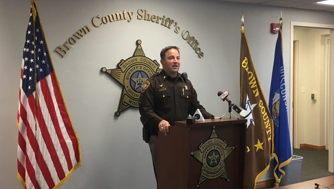 Chief Deputy Todd Delain addresses a press conference in November 2017 at the Brown County Sheriff's Office.