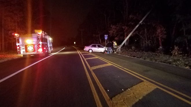 A car crash knocked out power during a Christmas tree lighting at Borough Hall Sunday evening, according to the Beachwood Volunteer Fire Company.