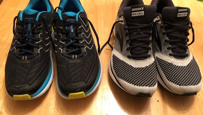 After two stressful trips to the shoe store, columnist Andy Sandrik has two new pairs of shoes for 2018: Hoka Cliftons (left) and Brooks Revel. Did he make the right decision? We'll know soon enough.