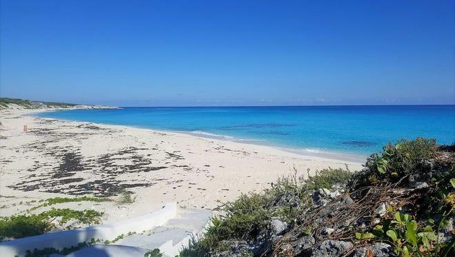 A secluded ocean-side beach on Staniel Cay, Exumas, Bahamas.