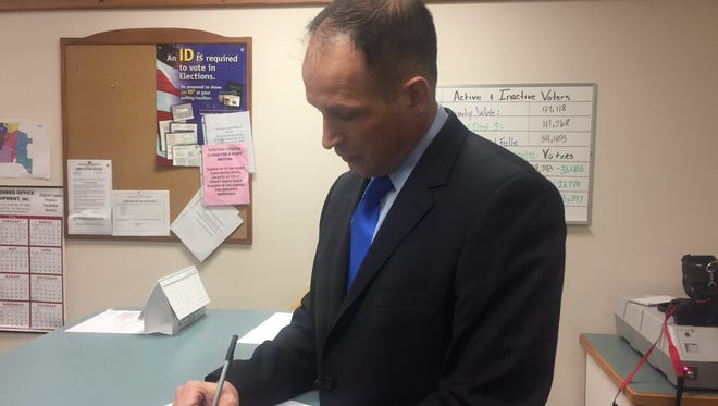 GFPD Det. Jesse Slaughter announced his candidacy for Cascade County sheriff Tuesday morning.