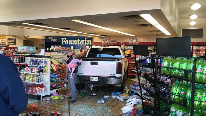 A pickup truck crashed into a Weigel's gas station in Strawberry Plains on Wednesday, Jan. 31, 2018.