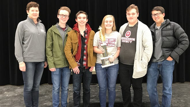 Henderson County High School's quick recall team won the Woodford County Academic Invitational January 20. Pictured are Assistant Coach Sarah Hardy, Cole Privette, Harrison Jenkins, Riley Lovell, DJ Banks and Zachary Beickman.