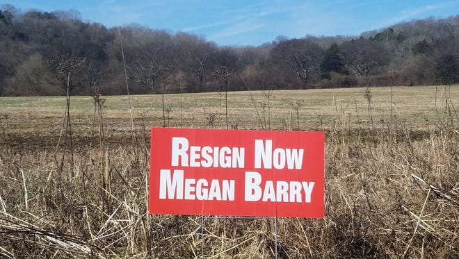 """A """"Resign Now Megan Barry"""" sign in Whites Creek."""