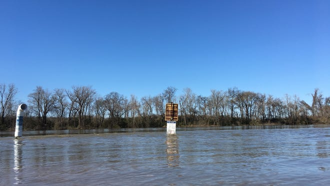 Most of the boat ramp at Clarksville's McGregor Park Riverwalk on the Cumberland River was underwater Tuesday.