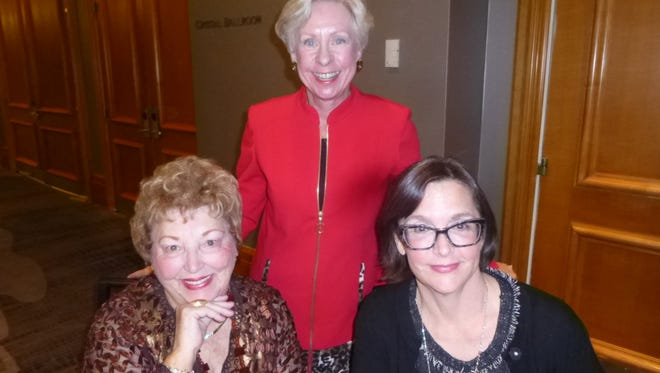 Seated: Friends of the College of the Desert Library past president Mary Lynn Rose and author Frances Dinkelspiel;Standing: Friends president Marge Dodge