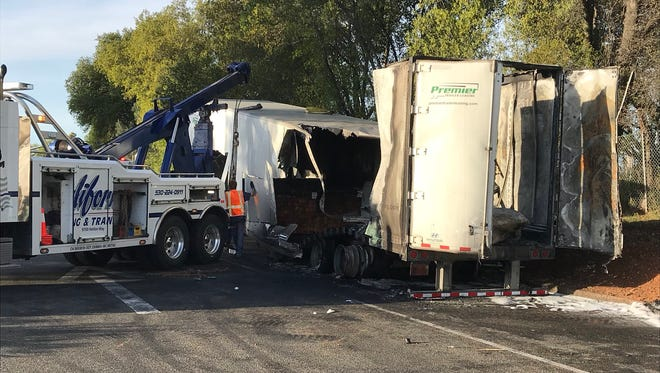 A truck caught fire overnight on the southbound Interstate 5 offramp at South Bonnyview Road