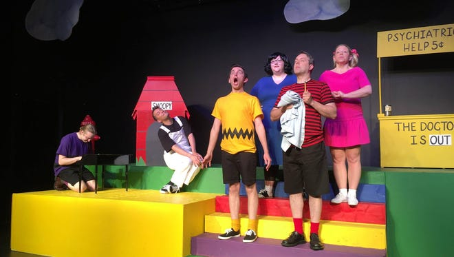 "The cast of BCT's ""You're a Good Man, Charlie Brown"" (from left): Cailin Mackenzie as Schroeder, Zander Martin as Snoopy, James Sgambati as Charlie Brown, Erin Abbott as Lucy, Adrian DeGroot as Linus and Michelle Lorenz Odell as Sally."
