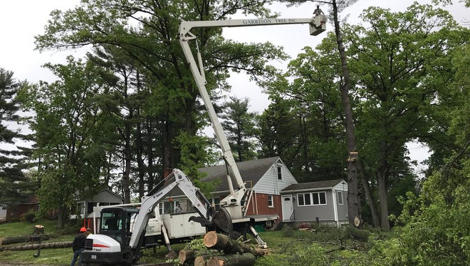 A tree crew from Garrison Tree Service works on damaged trees on Route 52 and McKinley Place in Fishkill.