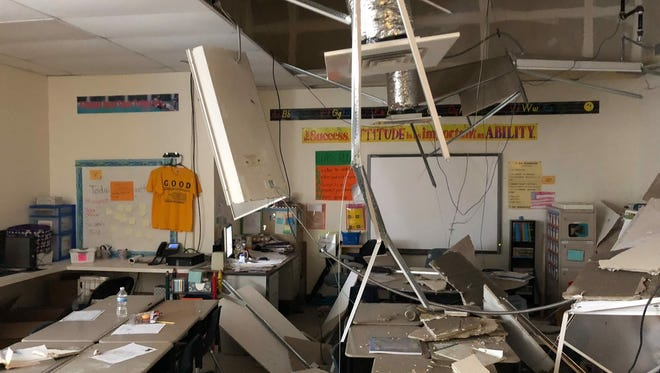 Pataskala Elementary will reopen Tuesday after pieces of the ceiling fell, which caused the district to cancel classes Monday.