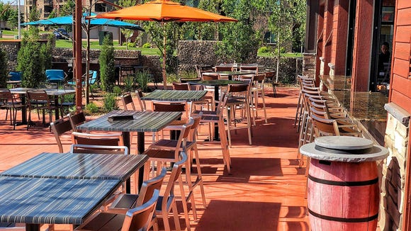 The patio at The Barrel House has ample seating.