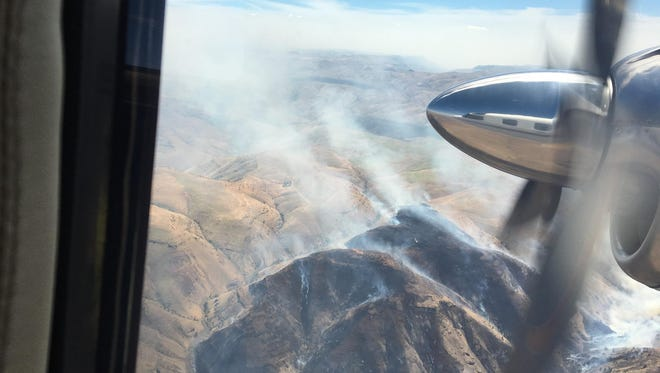 Views of the Jack Knife Fire burning in the John Day River canyon