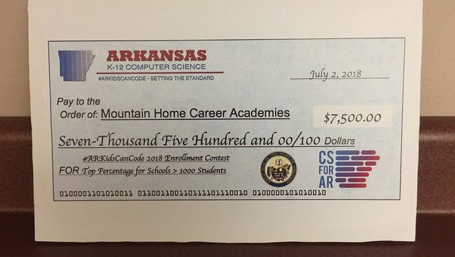 Mountain Home High School recently received $7,500 for having the highest percentage of students enrolled in a computer science class in the state.