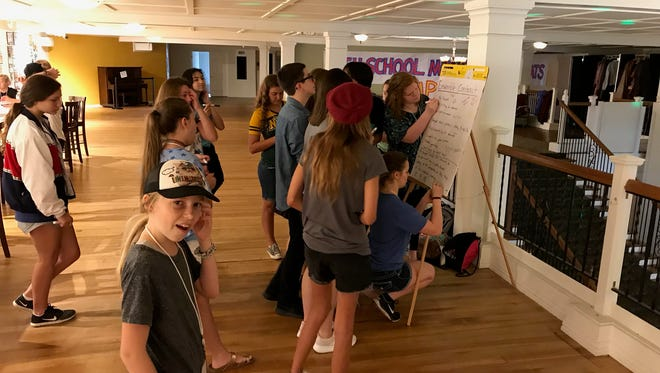"Wichita Theatre campers work on aspects of their upcoming production of ""High School Musical,"" which opens Sept. 7. The two-week camp exposes the children, ages 10-18, to a variety of theater themes, from acting to design, to singing to dancing."