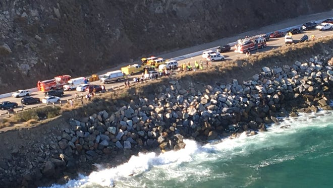 This aerial image from a Ventura County helicopter shows the site of Thursday's traffic accident along Pacific Cost Highway south of Mugu Rock.