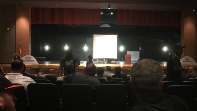 Coaches prepare for a conference at Scottsdale Coronado High School July 21, 2018.