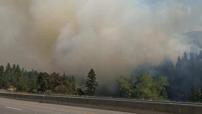 A spot fire from the Delta Fire has closed Interstate 5 again.