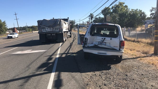 A sport utility vehicle and a truck collided on Highway 273 in south Redding on Monday.