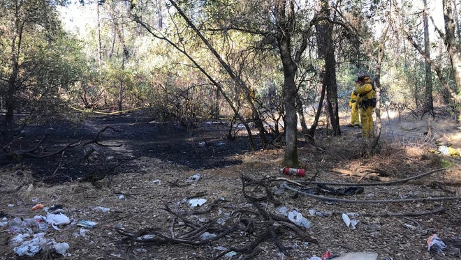 Firefighters quickly extinguished a small vegetation fire on Monday, Oct. 22, 2018, in the area of Keswick Dam Road and Lake Boulevard.