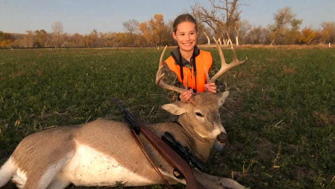 Anna Lunde took her first whitetail buck on Oct. 19, 2018.