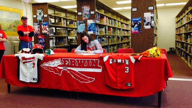 Erwin senior Natalie Case has signed to play college softball for Newberry (S.C.).