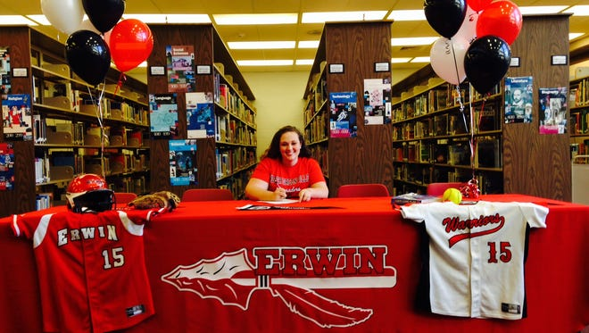 Erwin senior Kayla McCarson has signed to play college softball for North Greenville.