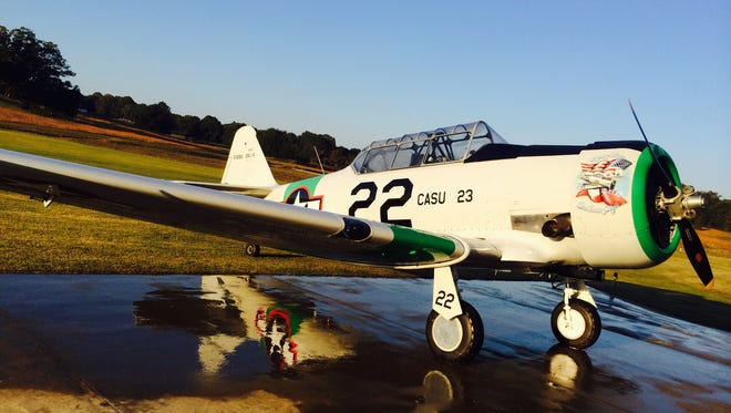 A North American T-6 airplane that will be available for veterans to take a ride at JB Williams Airport on Saturday.