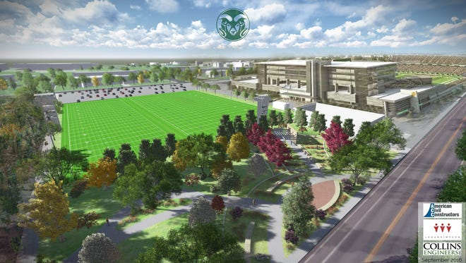An artist's rendering of Colorado State University's new football practice facility and adjacent Agricultural Heritage Garden. Groundbreaking on the new projects west of CSU's on-campus stadium is scheduled for Saturday.