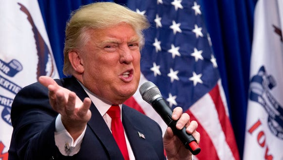 Donald Trump speaks during a campaign event at the