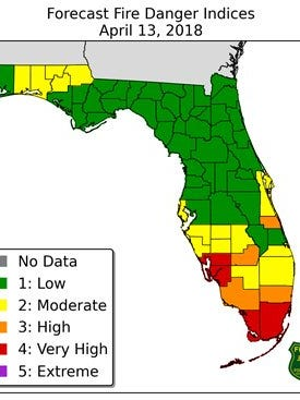 Brevard County remained high on the fire danger index despite some April showers.