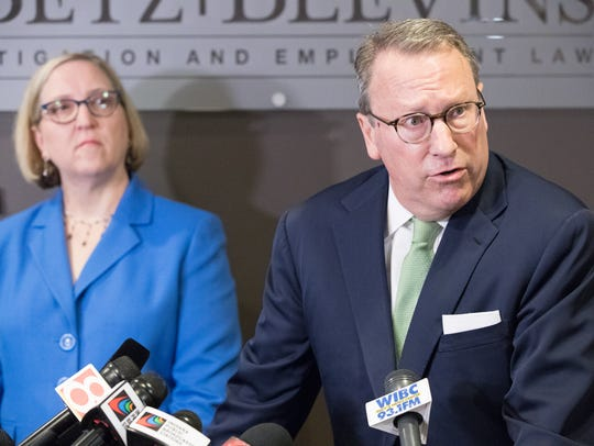 Lawyers from Betz and Blevens Litigation & Employment Law, Kevin W. Betz and Sandra L. Blevins, give a press conference discussing the possibility of a defamation suit in regards to a memo leaked to the media in the investigation of groping allegations against Indiana Attorney General Curtis Hill.