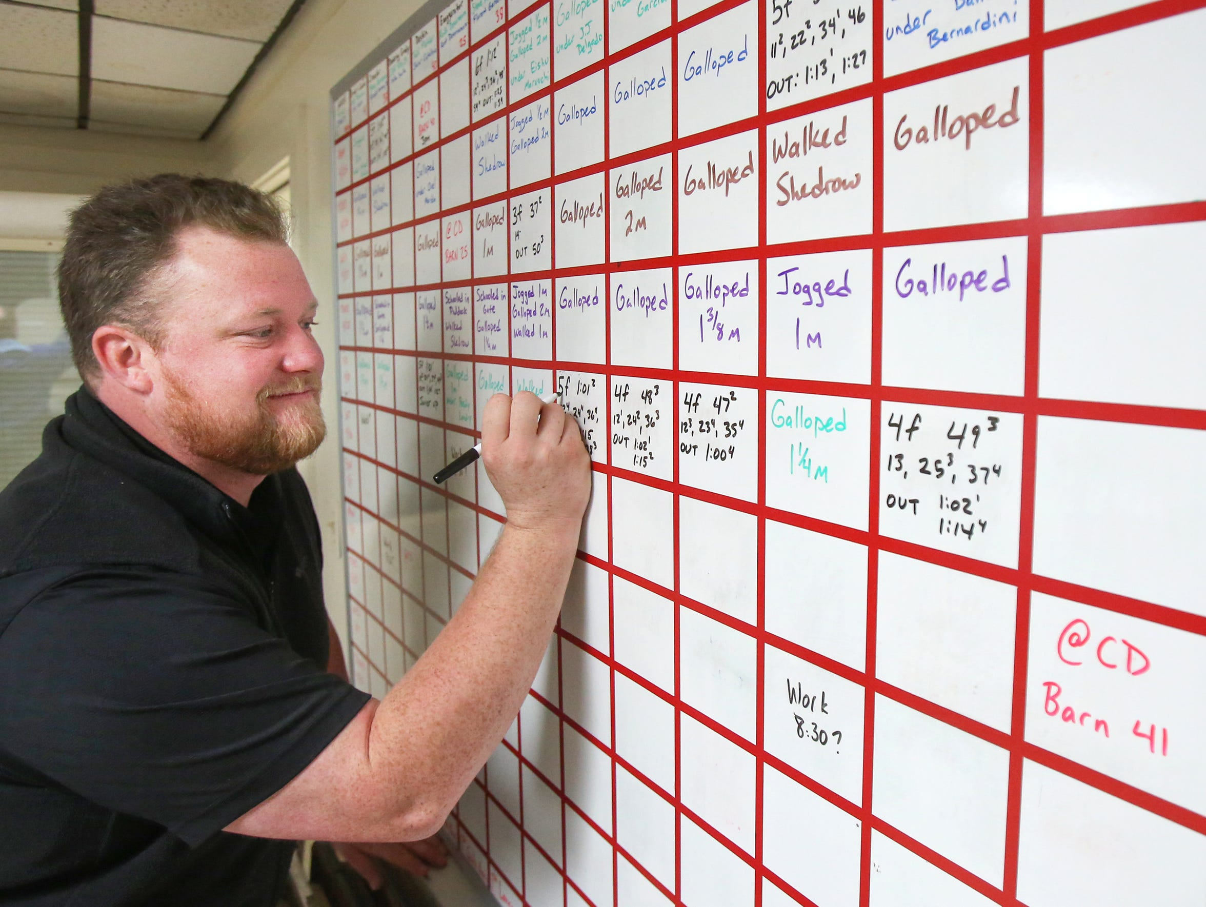 Chris Tingley manages the big board at the backside