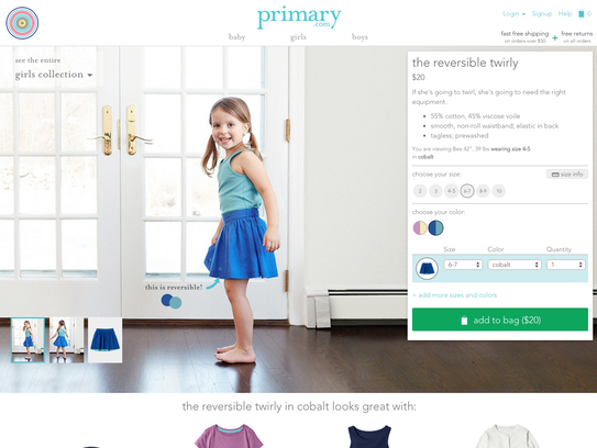 Primary's website focuses less on fashion and more