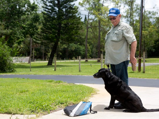 Collier County Clerk Dwight Brock demonstrates how he trains his Black Lab, Maddie, to fetch ducks outside his home just east of Golden Gate Friday, July 22, 2016. Elected in 1993 as Clerk of Courts Brock is running for currently running for re-election against current Collier County Commissioner Georgia Hiller.