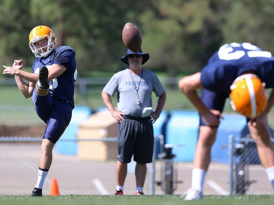 Australian kicker Mitchell Crawford works on his American football skills under the watchful eye of Special Teams coordinator Joe Robinson during Camp Ruidoso recently. The Australian rules footballer had never stepped onto an American football field before joining the Miners.