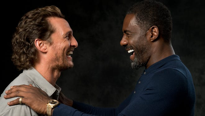 Matthew McConaughey, left, and Idris Elba engage in a battle of good vs. evil in Stephen King's fantasy film 'The Dark Tower.'