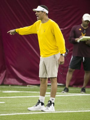 ASU wide receiver coach Jay Norvell coaches during an ASU football practice at the Verde Dickey Dome in Tempe on Tuesday, August 9, 2016.
