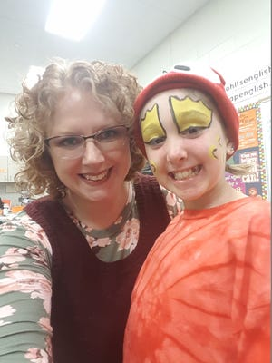 """Layla Sands with her mom Jen Fuller before performing in Charlotte High School's recent production of """"The Little Mermaid."""""""
