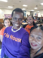 Front L-R:   Audria A. Russell, LMSW, LSW and Victoria David-Blenman, PPSD School Based Programs; Back Row in Orange T-Shirts, (L-R) Brenda Flores, Bilingual/Spanish Health Educator and Kathy Frazier, Junior Health Educator both with Iris House