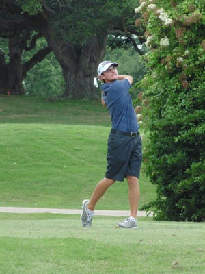 Matt Weber is shown on the course Saturday at the State Amateur Golf Championships at Oakbourne. Weber finished tied for the lead going into the final day.